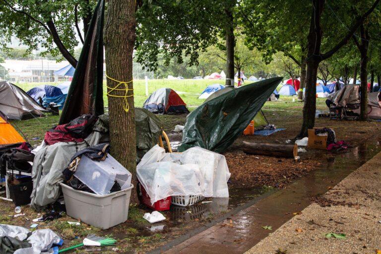 Benjamin Franklin Parkway encampment during Tropical Storm Isaia