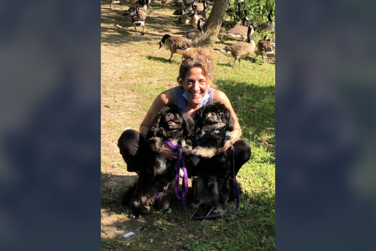 Jacqueline Canter in June at Haddon Lake Park with her dogs Frankie and Ernie, six weeks after being discharged from the rehabilitation center. (Courtesy of Jacqueline Canter)