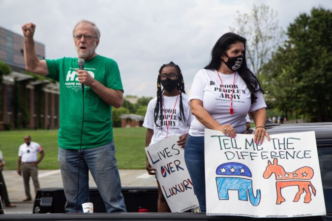 Howie Hawkins, a Green Party candidate for president, spoke at a protest march against inequity to Joe Biden's Philadelphia headquarters. (Kimberly Paynter/WHYY)