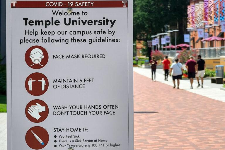 Coronavirus safety sign at Temple University