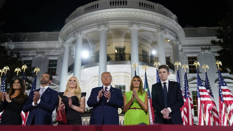 From left, Kimberly Guilfoyle, Donald Trump Jr., Tiffany Trump, President Trump, first lady Melania Trump and Barron Trump stand on the South Lawn of the White House on the last night of the Republican National Convention. (Evan Vucci/AP Photo)