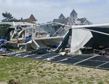 The Surflight Theatre's destroyed tent on Tuesday, August 4. (Image courtesy of the Surflight Theatre)