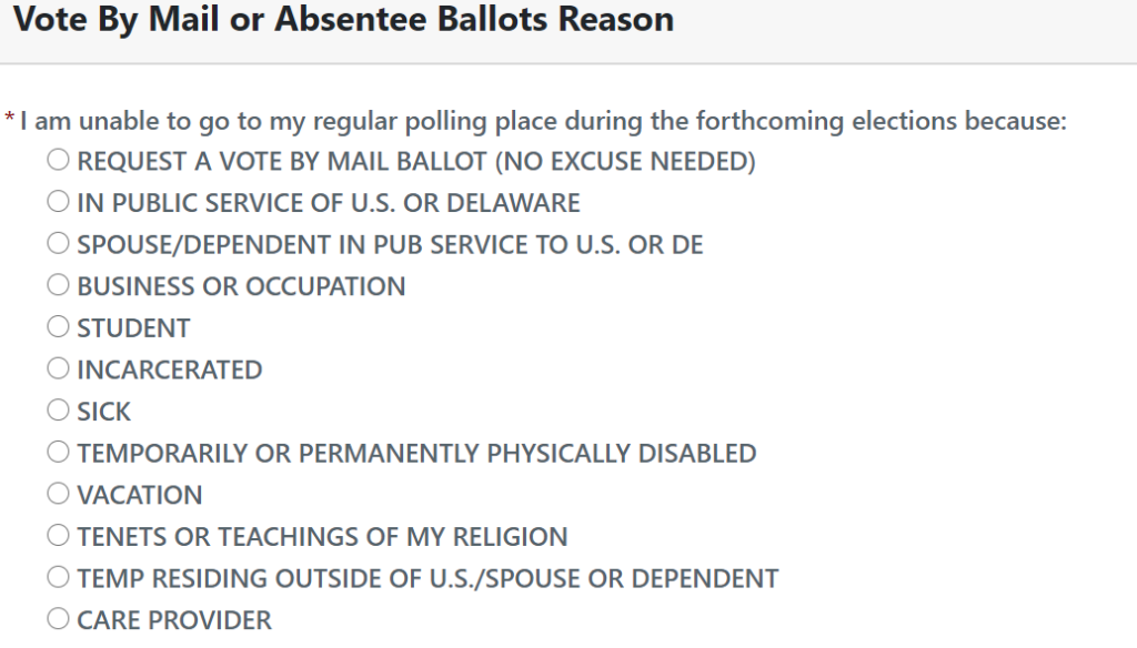 Del. vote-by-mail reasons
