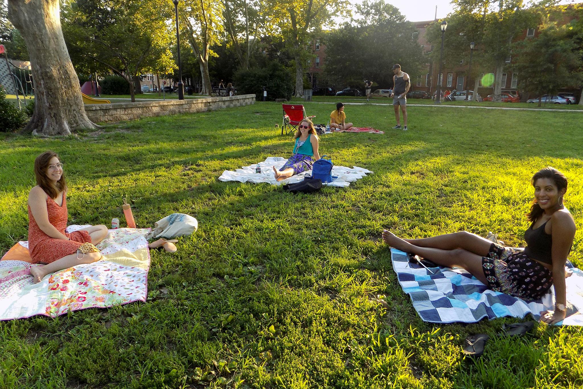 Jessica Stern, Tara Taylor and Vanessa Watson hang out at a local park