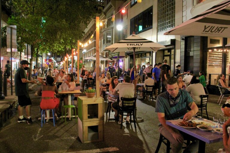 A block of Sansom Street in Center City is closed to traffic for outdoor dining on Sept. 9.