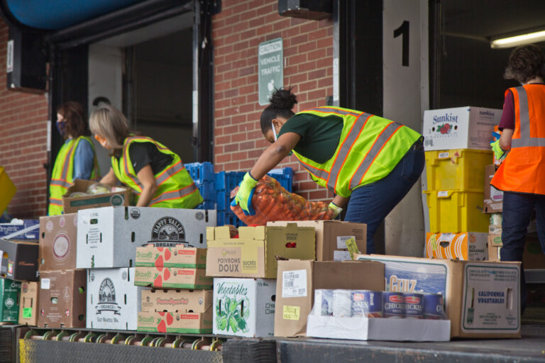 Philadbundance staff and volunteers were joined by DHS employees Friday to help load trucks of Philadelphia food for organizations in need. (Kimberly Paynter/WHYY)
