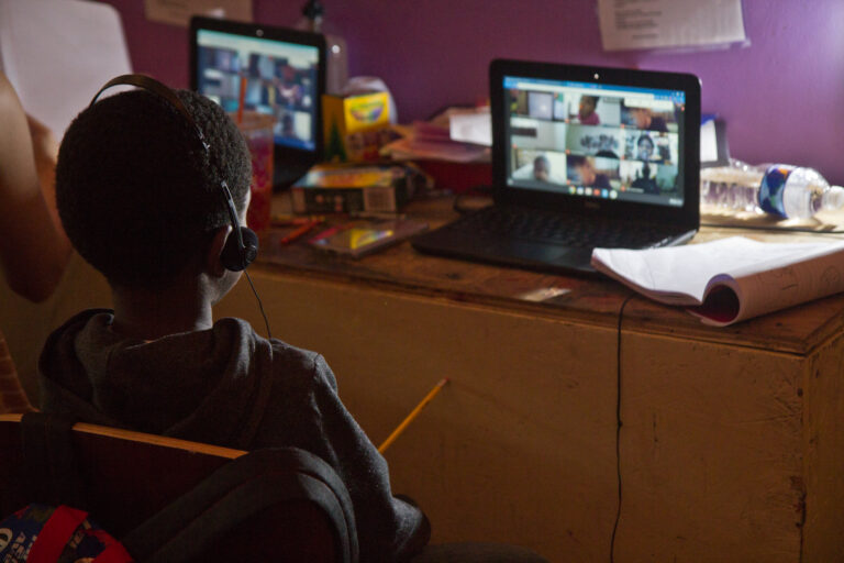 A student attends school virtually in North Philly