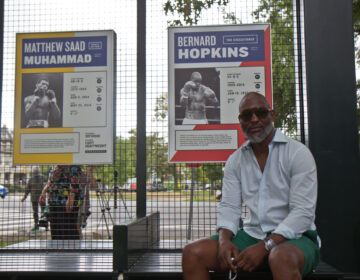 Boxing champion Bernard Hopkins is honored on the new signage at the Boxers' Trail in Fairmount Park. (Kimberly Paynter/WHYY)