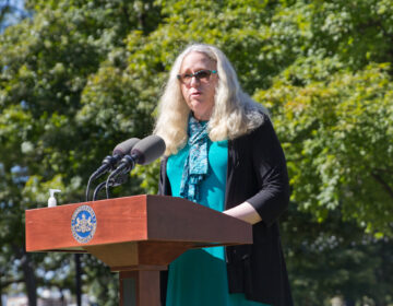 Pa. Health Secretary Rachel Levine encouraged Pennsylvanians to download the COVID AlertPA, which notifies users when they've been in contact with the virus. (Kimberly Paynter/WHYY)