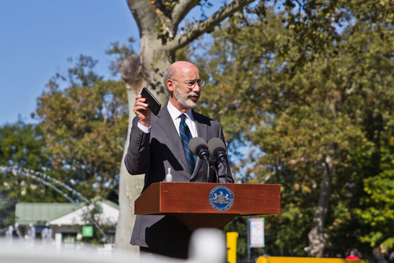 Pennsylvania Governor Tom Wolf was in Philadelphia Tuesday to announce that contract tracing app COVID AlertPA is available for download. The app notifies users when they have been in contact with someone who was exposed to the disease. (Kimberly Paynter/WHYY)
