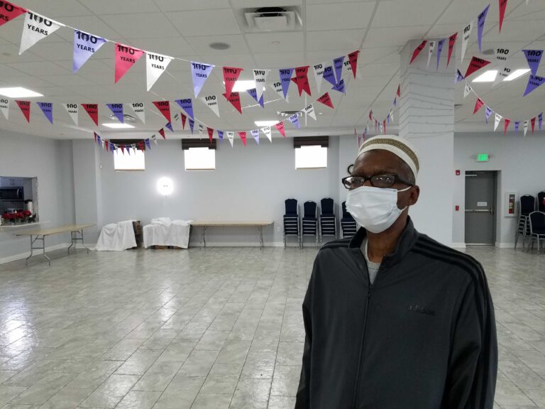 Rafiyq Friend in the community room of the Ahmadiyya mosque in North Philly, where the blood drive will happen Sunday. (Peter Crimmins/WHYY)