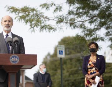 Pennsylvania Governor Tom Wolf speaking to the press outside York Grace Brethren Church in York, on Tuesday, Sept. 15. Wolf was urging immediate legislative action on voting rules ahead of the presidential election Nov. 3. (Commonwealth Media Services)