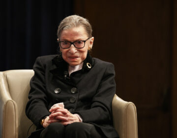 In this Oct. 30, 2019, file photo, Supreme Court Justice Ruth Bader Ginsburg attends Georgetown Law's second annual Ruth Bader Ginsburg Lecture in Washington. (AP Photo/Jacquelyn Martin)