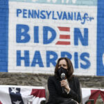 Democratic vice presidential candidate Sen. Kamala Harris, D-Calif., participates in the Sister to Sister Mobilization in Action event during a campaign stop, Thursday, Sept. 17, 2020, in Philadelphia. (AP Photo/Michael Perez)