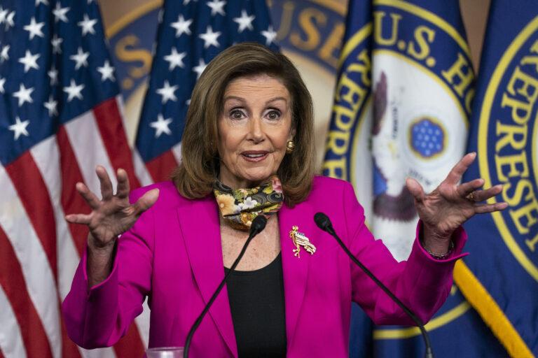 House Speaker Nancy Pelosi of Calif., speaks during a news conference on Capitol Hill, Friday, Sept. 18, 2020, in Washington.   (AP Photo/Manuel Balce Ceneta)