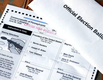 This May 26, 2020, file photo shows an Official Democratic General Primary mail-in ballot and secrecy envelope, for the Pennsylvania primary in Pittsburgh. (AP Photo/Gene J. Puskar)