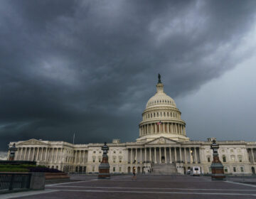 Stormy weather moves toward the Capitol in Washington, Friday, Aug. 28, 2020. (AP Photo/J. Scott Applewhite)