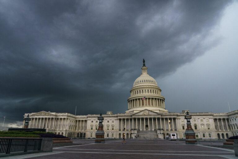 Stormy weather moves toward the Capitol in Washington, Friday, Aug. 28, 2020. (AP Photo/J. Scott Applewhite)