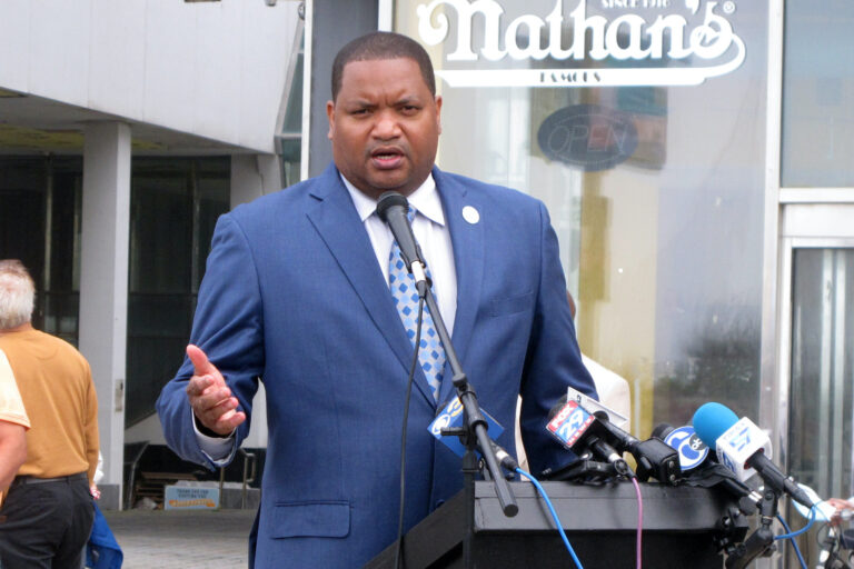 Atlantic City N.J. Mayor Marty Small holds a news conference on his city's Boardwalk