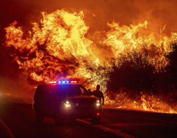 Flames lick above vehicles on Highway 162 as the Bear Fire burns in Oroville, Calif.