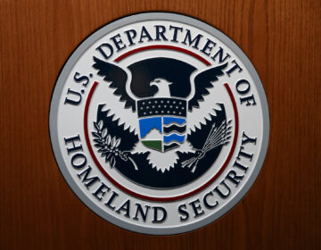 In this June 28, 2019, file photo the Department of Homeland Security (DHS) seal is seen during a news conference in Washington. (AP Photo/Carolyn Kaster)