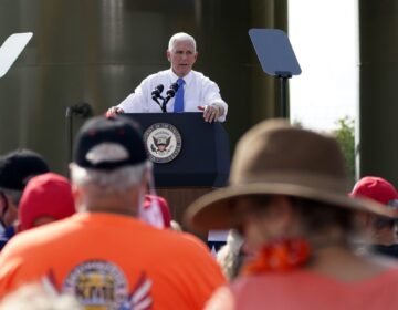 Vice President Mike Pence speaks at a campaign event at a PennEnergy Resources site on Wednesday Sept. 9. 2020, in Freedom, Pa. (Keith Srakocic / AP Photo)