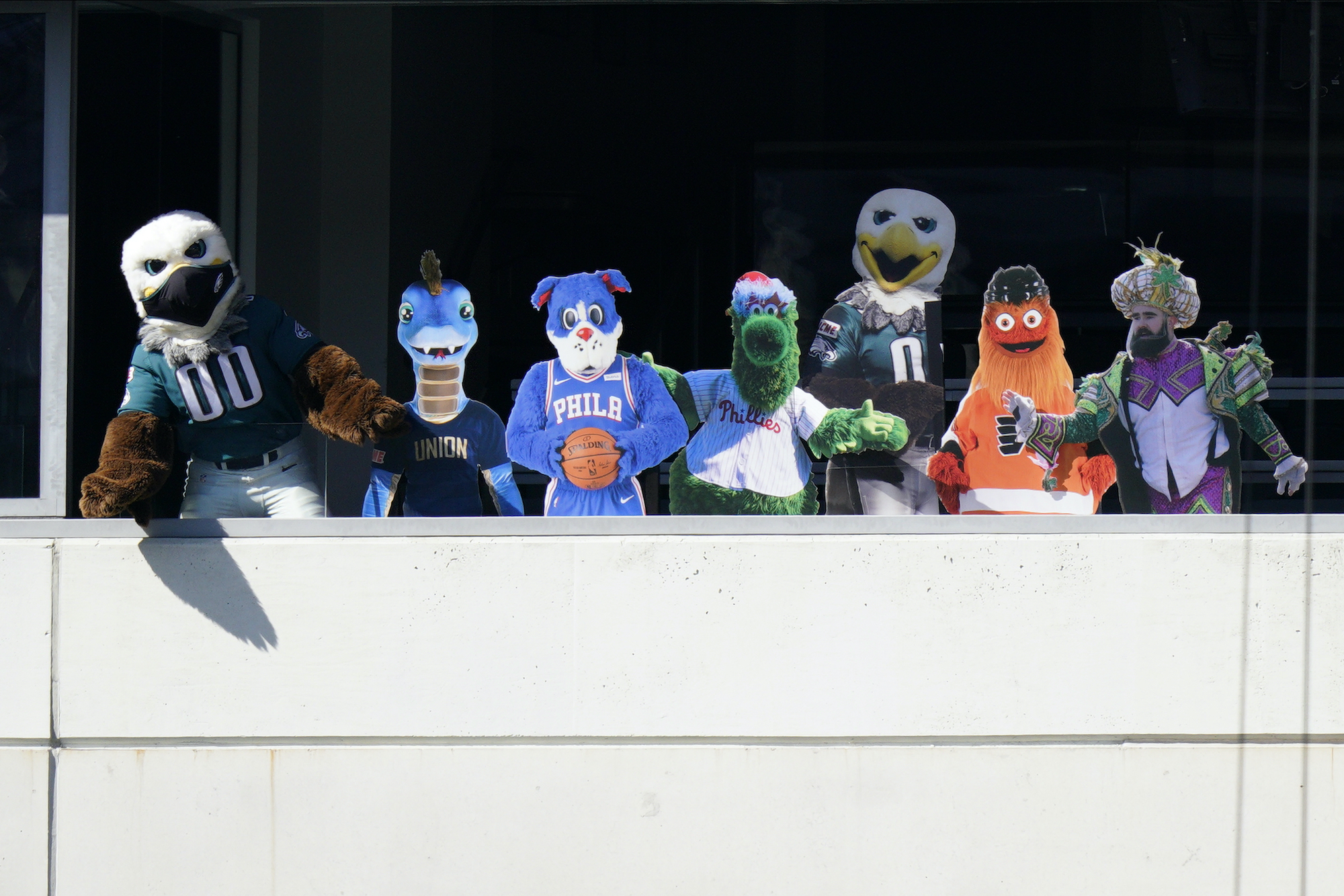 Philadelphia mascots appear as cardboard cut-out fans at Lincoln Financial Field