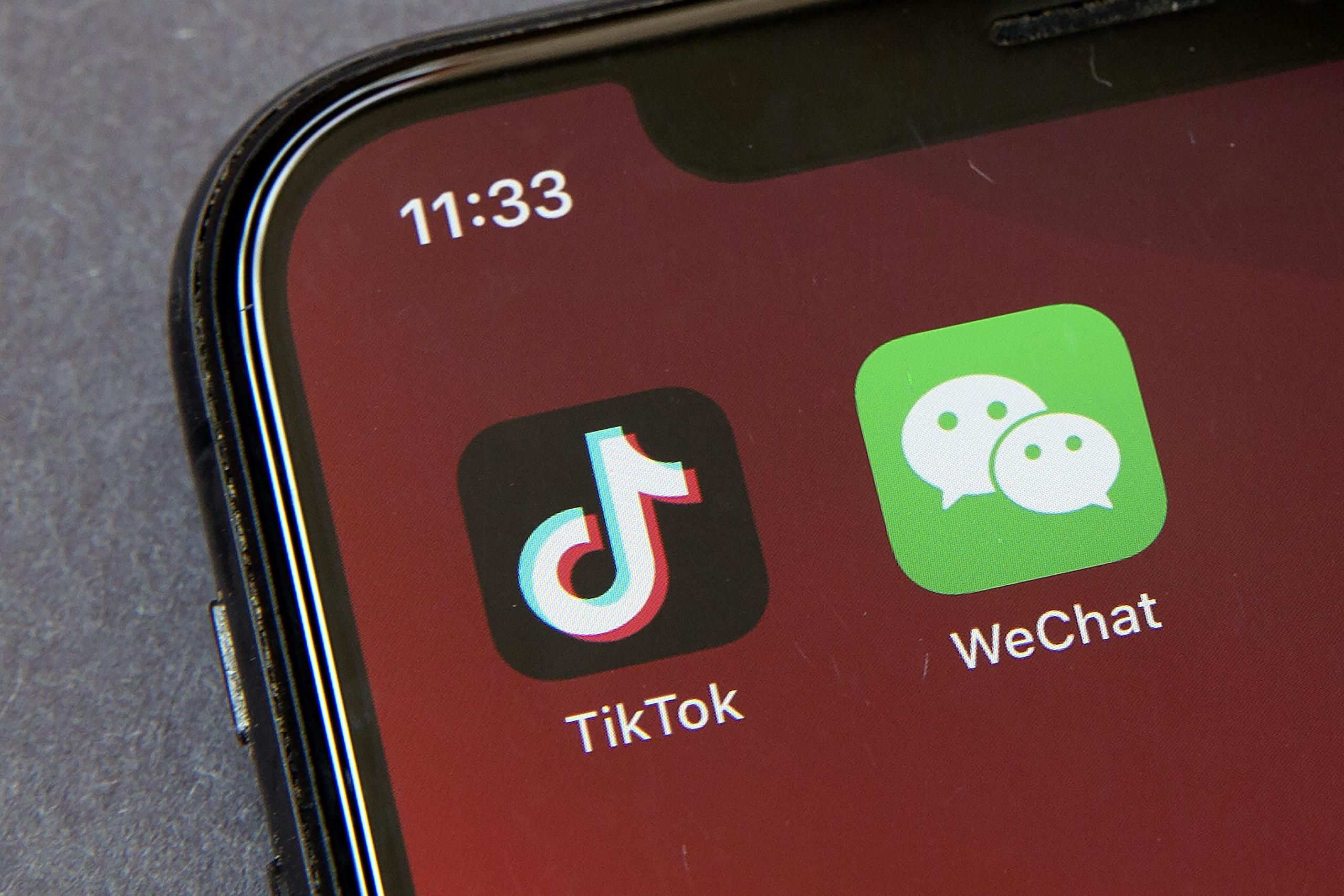 TikTok and WeChat apps
