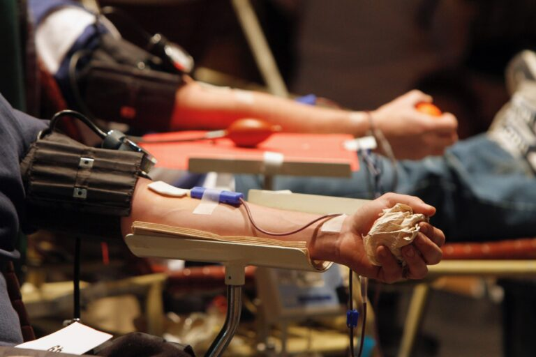 Donors give blood at a drive in Rutland, Vermont. (AP Photo/Toby Talbot, File)