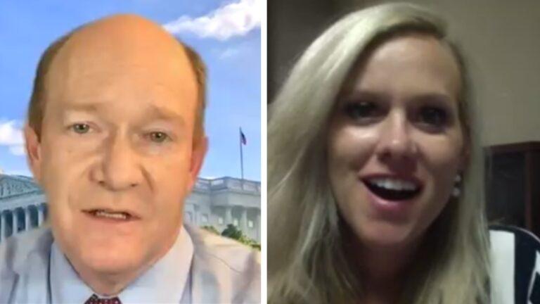 U.S. Sen. Chris Coons and challenger Lauren Witzke