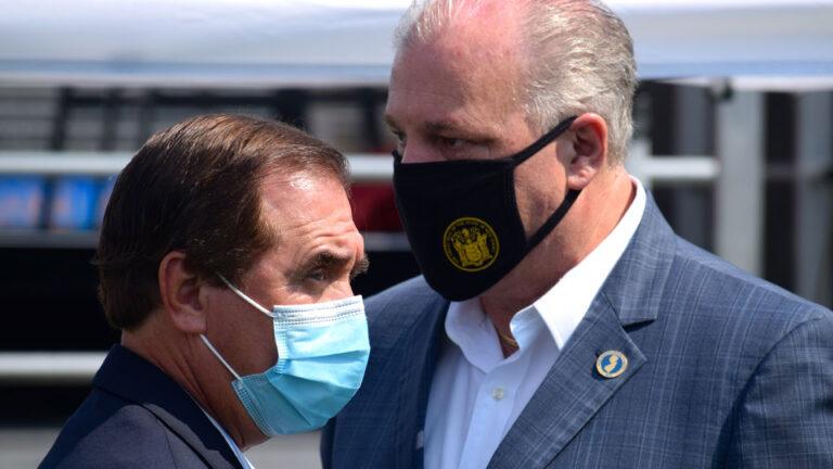 Assembly Speaker Craig Coughlin, left, and Senate President Steve Sweeney