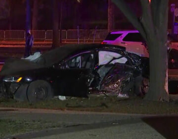 A car accident on Benjamin Franklin Parkway has left one person dead. (Screenshot via NBC10)