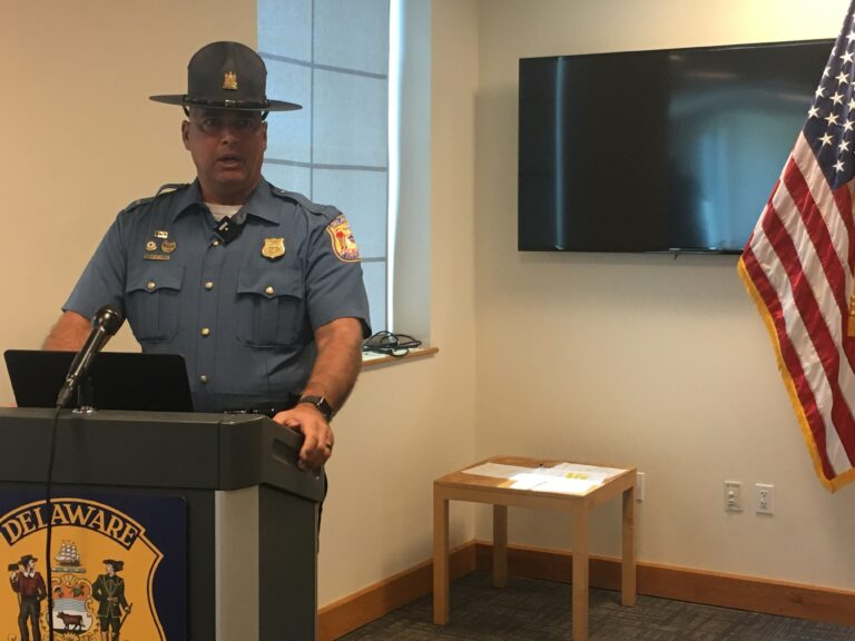 State Police Lt. Robert Jones talks about the largest fentanyl seizure in Delaware history at a press conference inside State Police Troop #2 in Glasgow. (Mark Eichmann/WHYY)