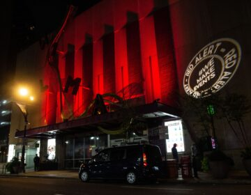 The Wilma Theater in Philadelphia lit up red for industry professionals out of work due to the pandemic. (Kimberly Paynter/WHYY)