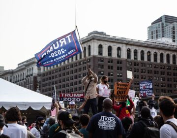 Trump supporters and protesters clashed on Independence Mall ahead of a visit from President Trump. (Kimberly Paynter/WHYY)