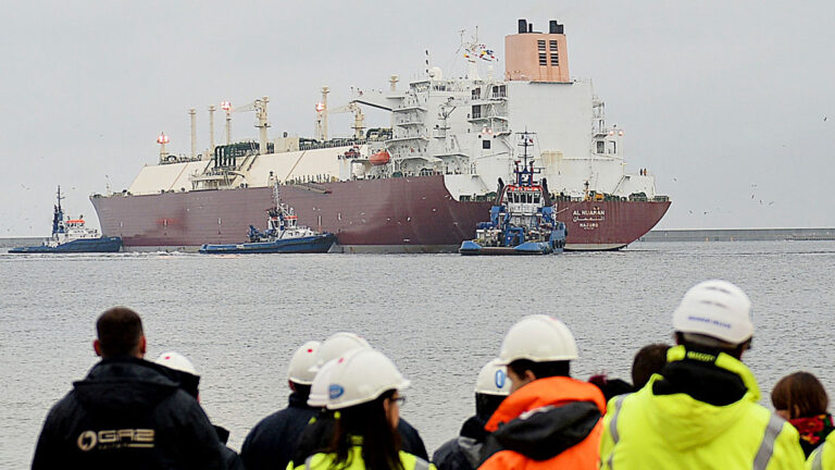 A tanker carrying liquefied natural gas