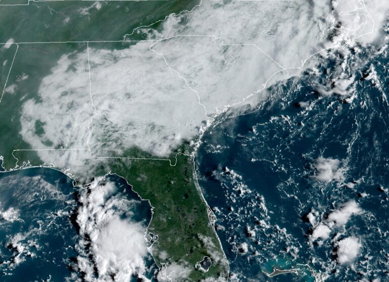 A geocolor image shows the view from a NOAA satellite over the East Coast.