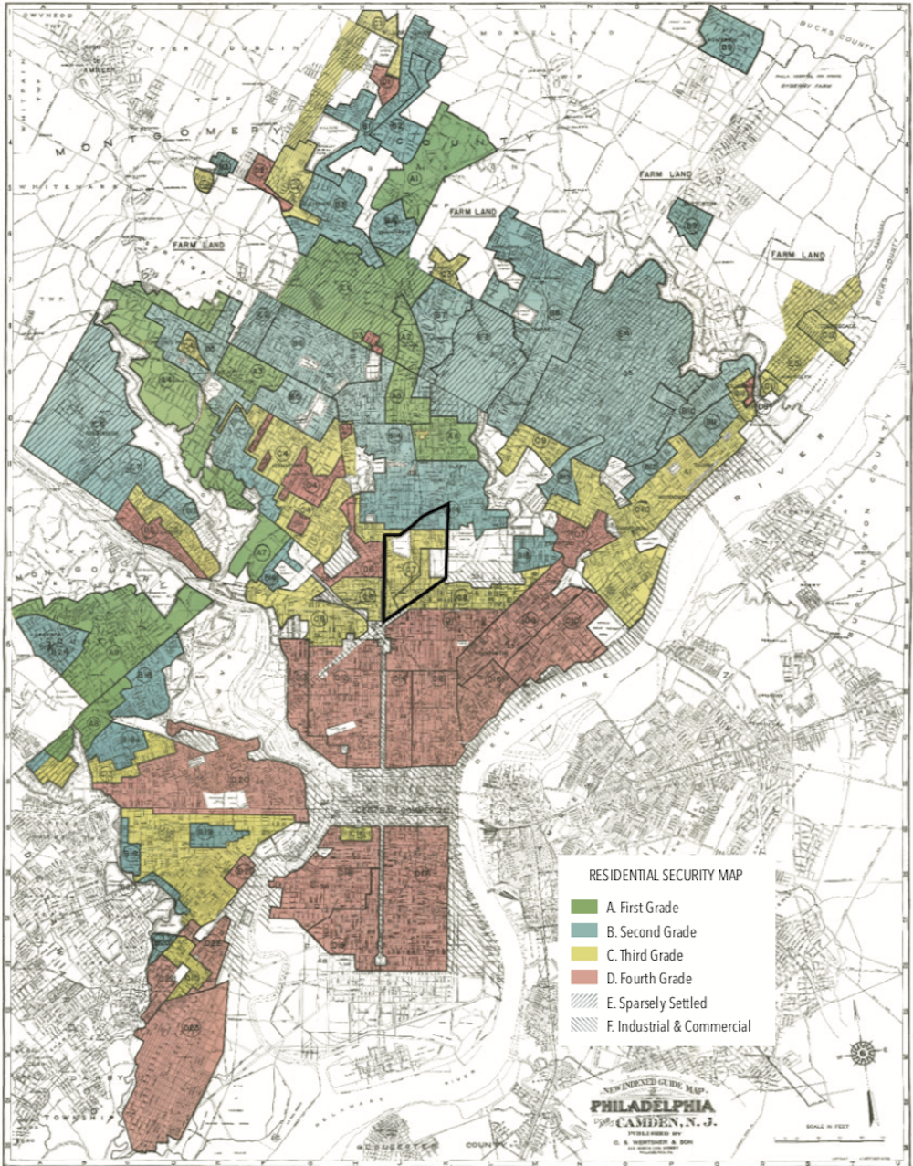 A 1940 Home Owners Loan Corporation redlining map of Philadelphia with Hunting Park outlined