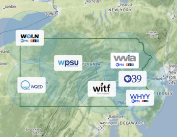 Map of Pennsylvania PBS stations