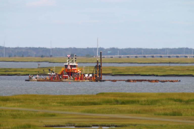 The Dredge Fullerton, owned and operated by Barnegat Bay Dredging Company, conducts dredging in the New Jersey Intracoastal Waterway near Stone Harbor, NJ in September 2020. (Photo by Devin Griffiths/U.S. Army Corps of Engineers).