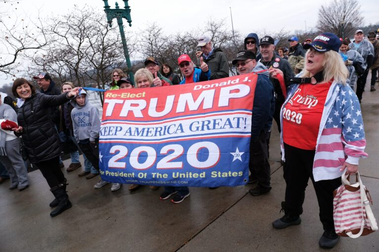 Visitors wait in line before a 2020 campaign rally for President Donald Trump on Dec. 10, 2019, at the Giant Center in Hershey, Pennsylvania. (Matt Smith for WITF/PA Post)