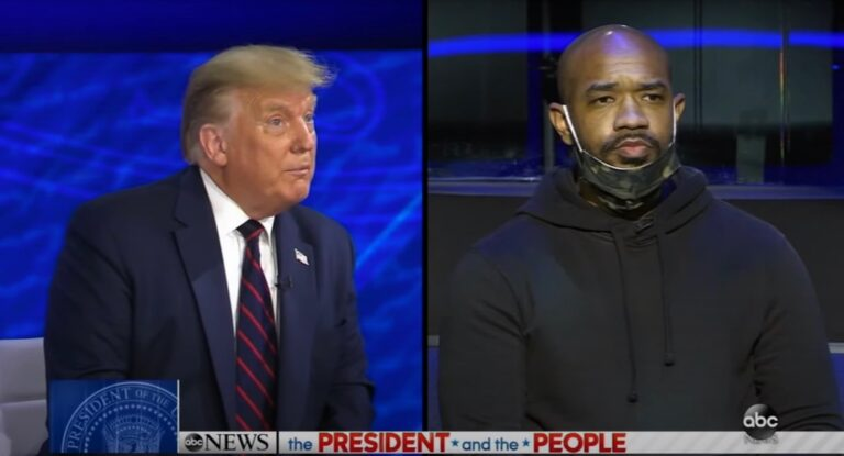 Philadelphia pastor Carl Day asks a question during President Trump's ABC News town hall in Philadelphia. (ABC News)