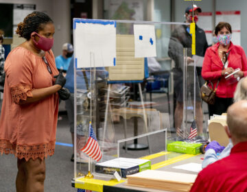 A voter waits to be handed her ballot