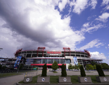 Nissan Stadium, home of the Tennessee Titans, is shown on Tuesday in Nashville, Tenn. The Titans' game against the Pittsburgh Steelers, which had been scheduled for Sunday, has been delayed. (Mark Humphrey/AP Photo)