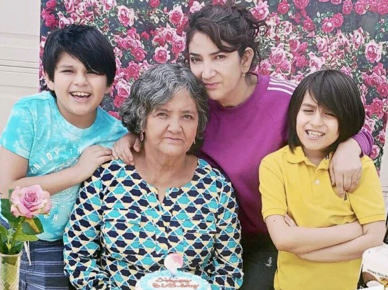 Bertha Gonzalez (middle right), her mother Floria and her twin sons Sebastián and Santiago at her mother's 70th birthday this April. Floria contracted the coronavirus in July. (Courtesy of Bertha Gonzalez)