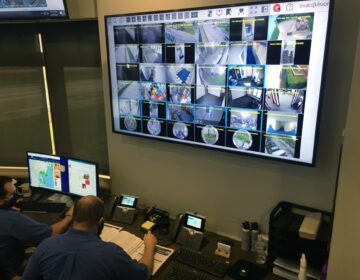 Warden Dana Metzger describes how analysts will coordinate with prison officials as they monitor more than 2,000 cameras. (Mark Eichmann/WHYY)