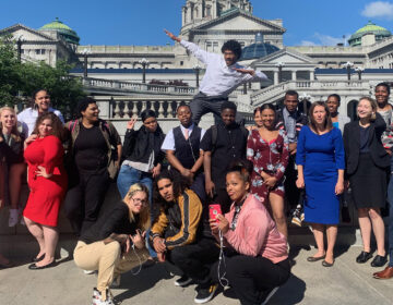 Members of the Juvenile Law Center's Youth Fostering Change pose in Harrisburg in better days