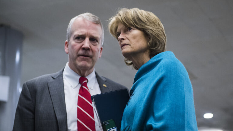 Sens. Dan Sullivan (left) and Lisa Murkowski, both Republicans from Alaska, have joined Sen. Brian Schatz, a Democrat from Hawaii, in introducing a bipartisan bill that would extend reporting deadlines for 2020 census results. (Tom Williams/CQ-Roll Call via Getty Images)