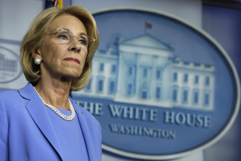 U.S. Education Secretary Betsy DeVos backed a rule that would have increased private schools' share of CARES Act dollars from $127 million to $1.5 billion, according to one analysis. (Yuri Gripas/Abaca Press/Bloomberg via Getty Images)