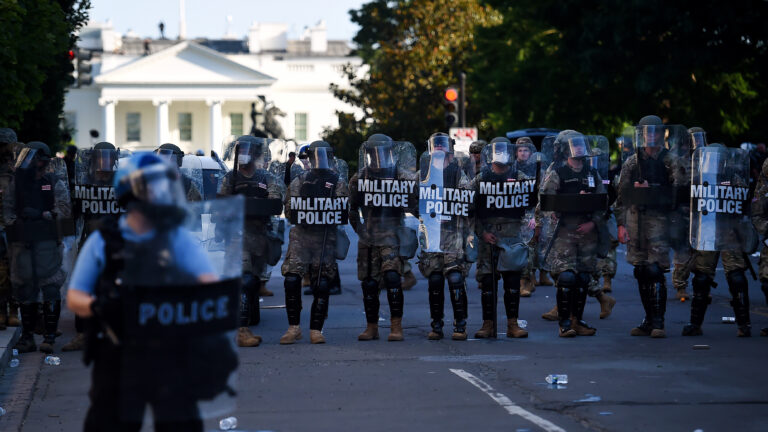 Military police hold a line near the White House as demonstrators gather to protest police brutality on June 1, 2020 in Washington, D.C. (Olivier Douliery/AFP via Getty Images)